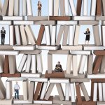 Different people on 3d books wall background